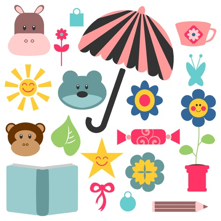 A set of cute childish elements for design Vector