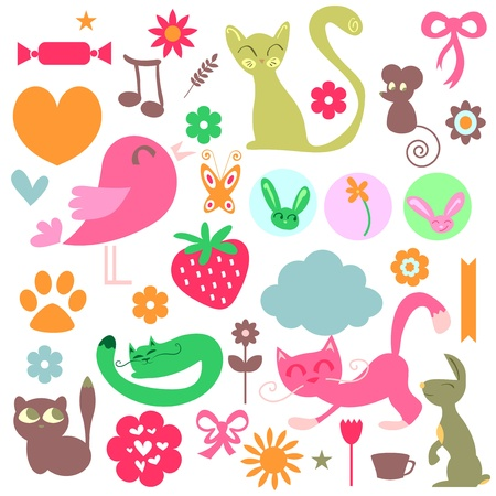 Babyish elements cute animals and objects set Vector