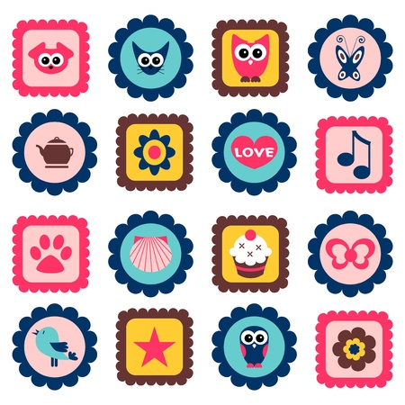 Cute childish stamps set Vector