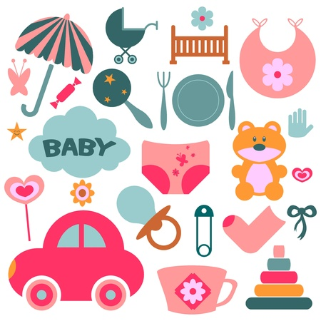 Set of design elements for babies Stock Vector - 15637654