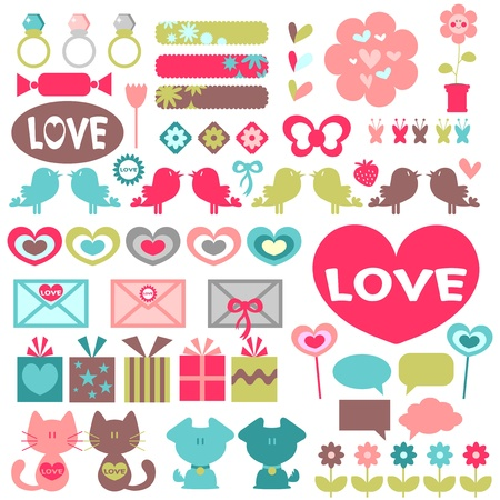 Big set of various romantic elements for design