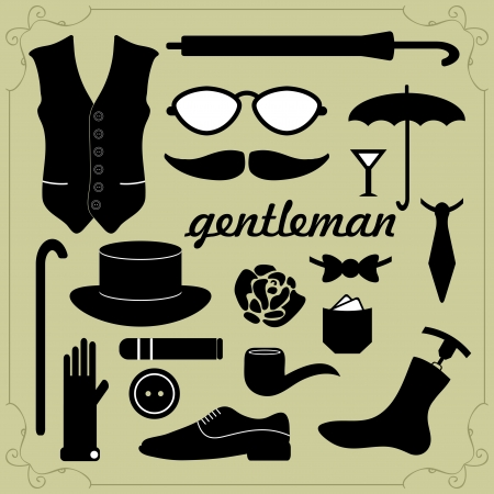 vintage cigar: Set of vector elements for gentlemen