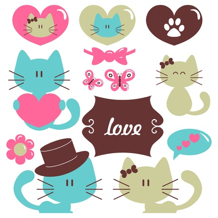 Cats in love romantic vector set of elements Illustration
