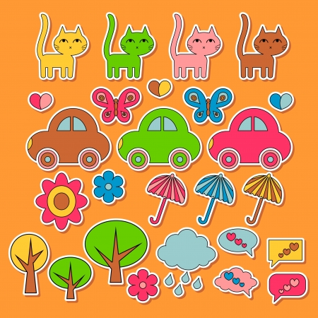 Set of cute colorful childish stickers Stock Vector - 15648139