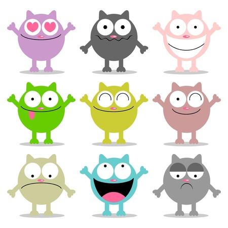 happy sad: Set di gatti divertenti con varie emozioni