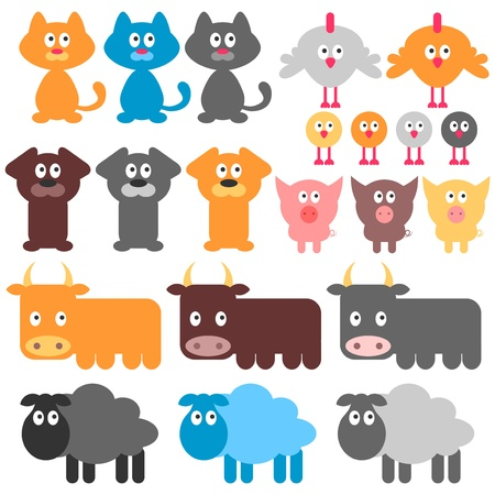 Set of cute domestic animals Vector