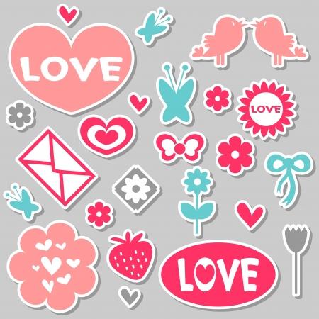 A set of beautiful romantic stickers