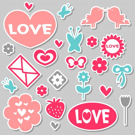 A set of beautiful romantic stickers