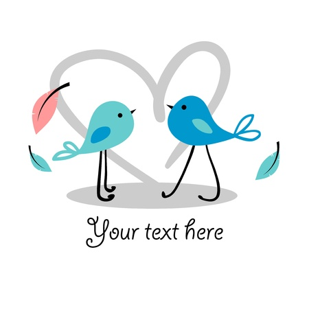 babyish: Beautiful romantic card with cute little birds