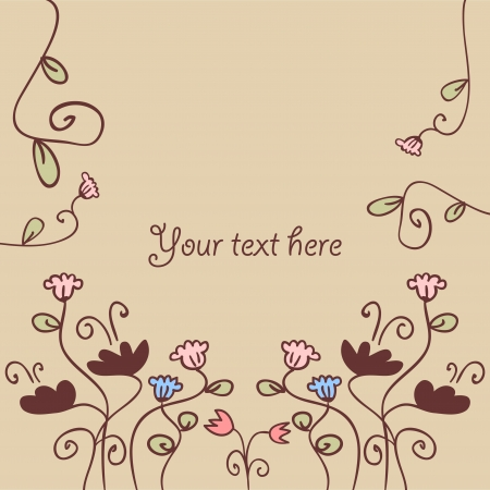 Beautiful vector card decorated with flowers