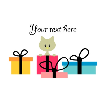 Pretty birthday card with kitten in a gift box