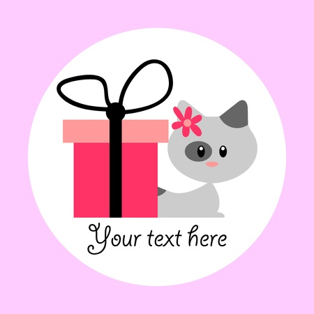 Cute card with baby kitten and gift box