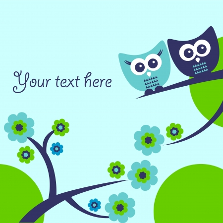 Cute vector card with two funny owls