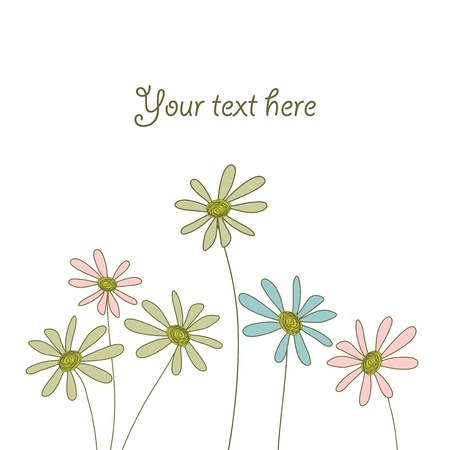 card with cute doodle flowers Vector