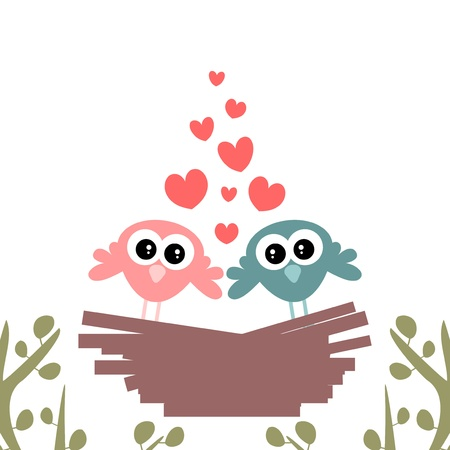 Cute couple of birds in the nest Vector