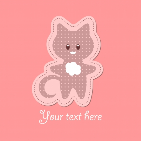 Cute baby card with little kitten Vector