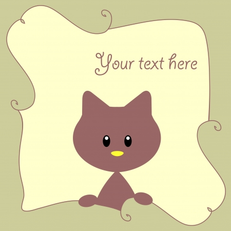 Cute baby card with little kitten Vector