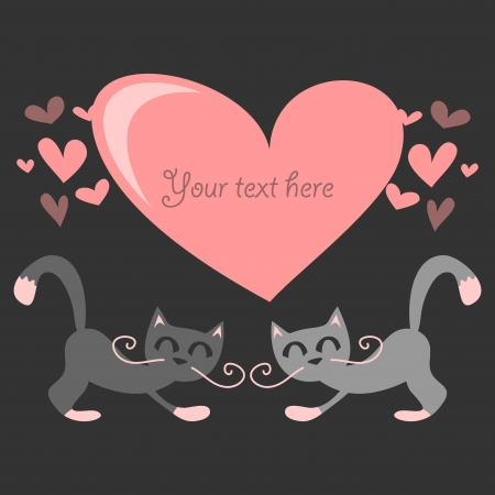 valentine cat: Cute love card couple of cats in love