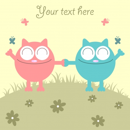 Couple of cats having fun on the meadow Stock Vector - 15638110
