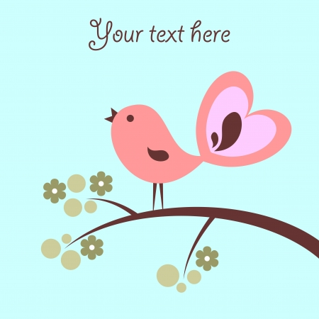 Beautiful card with cute pink bird Vector