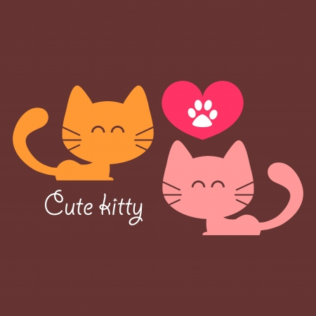 Cute couple of cats in love romantic card Vector