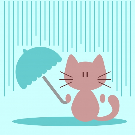 Cute little kitty with umbrella under rain Vector
