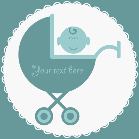 Baby boy in stroller blue card
