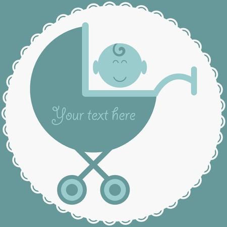 Baby boy in stroller blue card