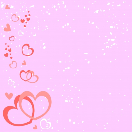 Pink romantic background with hearts Illustration