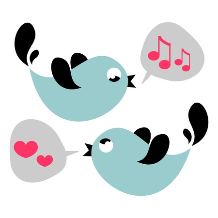 Cute birds singing love card Illustration