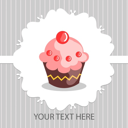 Beautiful card with delicious cake Vector