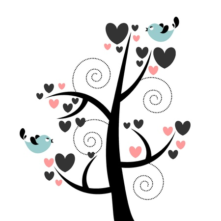 Card with beautiful tree hearts and birds