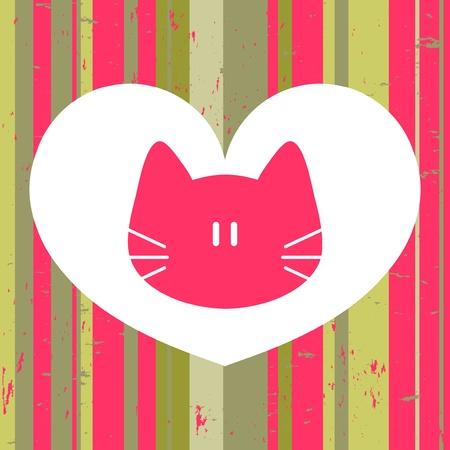 Beautiful love card with cute cat