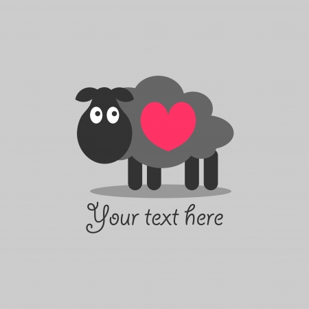 valentines card: Cute romantic card with lamb