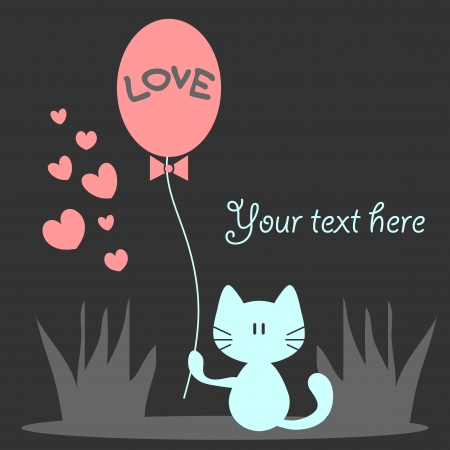 Romantic card with cute kitty holding a balloon