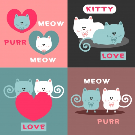 Cute romantic card design set with pretty cats