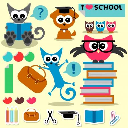 reading glass: Scrapbook conjunto animales divertidos tema de la escuela y los elementos