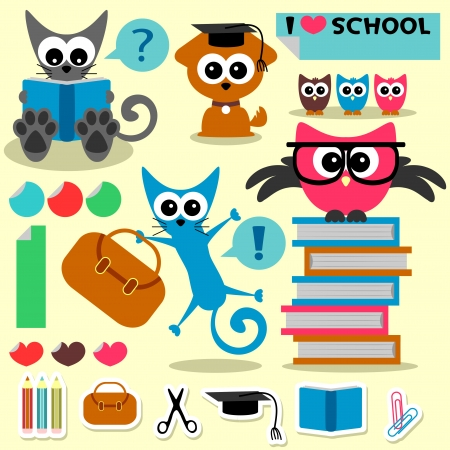puppy and kitten: Scrapbook set school theme funny animals and elements