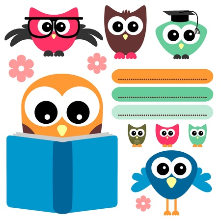reading glass: Cute owls set school theme