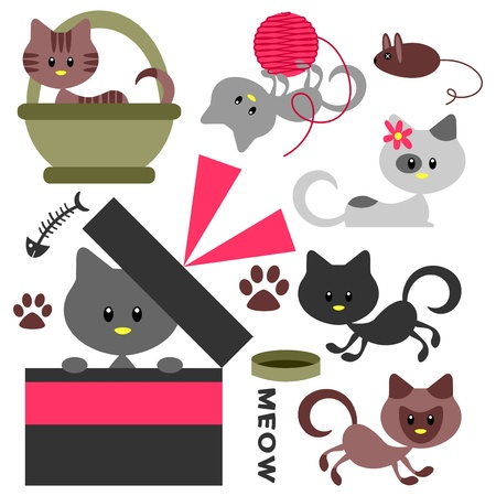 Cute little kittens set Stock Vector - 15672801