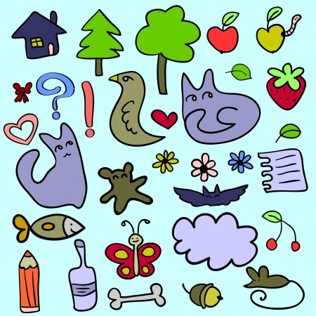 Set of doodle childish elements Vector