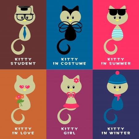childlike: A set of various cute kittens Illustration