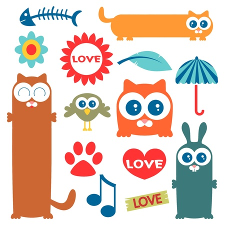 A set of cute elements for design Vector