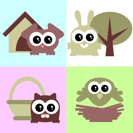 doghouse: A set of cute baby animals