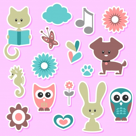 Babyish cute stickers set Stock Vector - 15672883