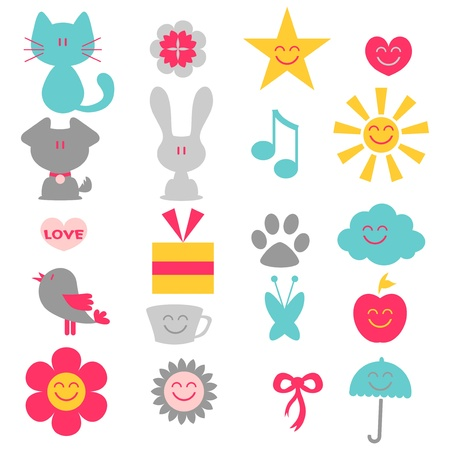 A set of cute childish elements Stock Vector - 15672828