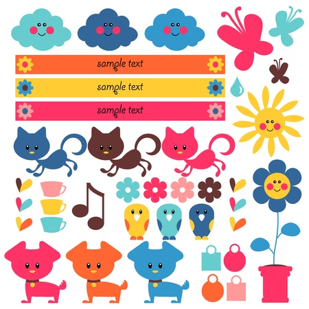 A set of cute elements for kids Stock Vector - 15672887