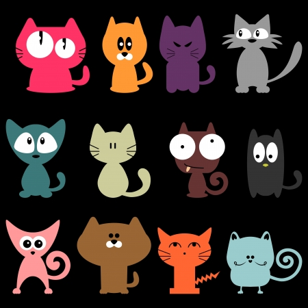 Set of various colorful funny cats Illustration