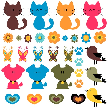 puppy and kitten: Sweet colorful childish elements set