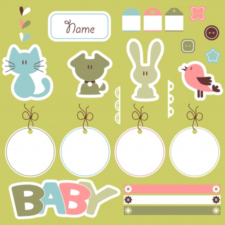 Cute scrapbook elements for baby Vector